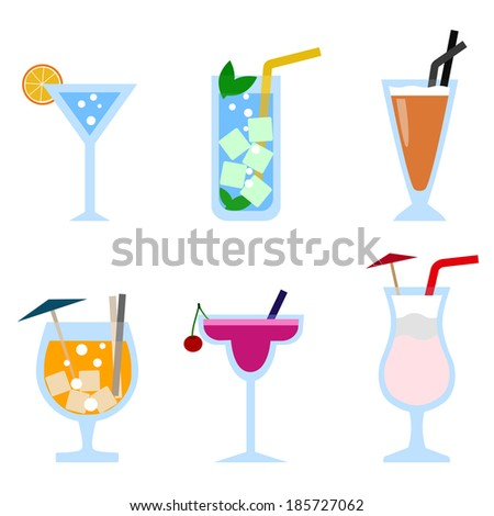 Set of cocktail icons - stock vector