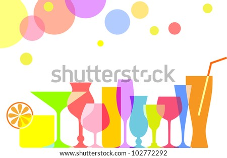 Set of Cocktails and Drinks - stock vector