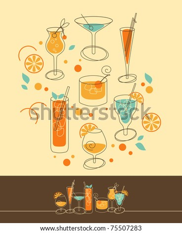 Set of Cocktails in Retro-Styled - stock vector