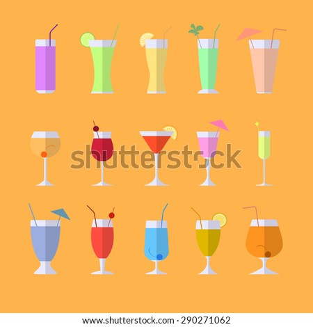 Set of cocktails soft and long-drinks infographic icon (vector) - stock vector