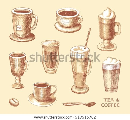 Set of coffe and tea mugs vector drawing sketch style