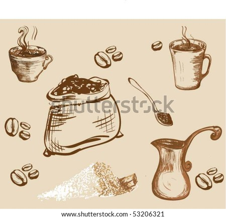 set  of Coffee accessories graphic illustration - stock vector
