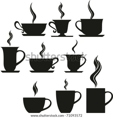 set of coffee and tea cups. Vector illustration. - stock vector