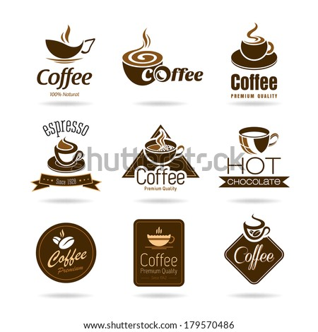 Set of coffee badges and icon - stock vector