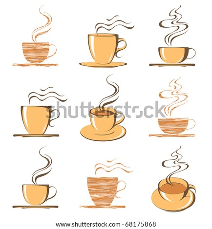 set of coffee cup icons - stock vector