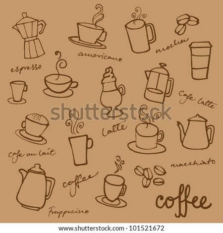 Set of Coffee doodles vector - stock vector