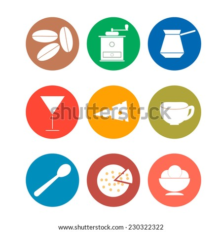 Set of coffee flat design icons. Vector
