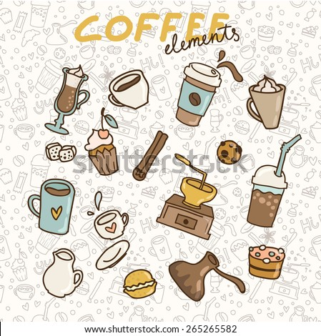 Set of coffee icons. - stock vector