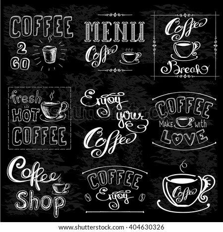 Set Of Coffee Labels On Chalkboard . Coffee decoration collection .Set of calligraphic and typographic elements styled design, frames, vintage labels. Vector illustration - stock vector