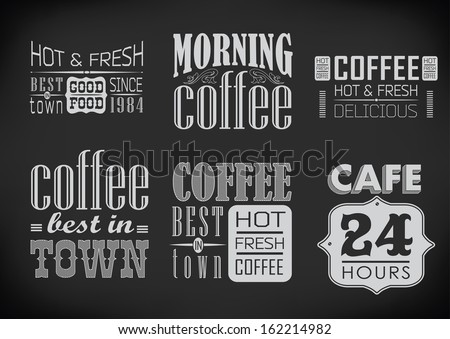 set of coffee labels on chalkboard / vector