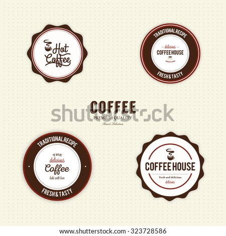 Set of coffee labels with text on a white background