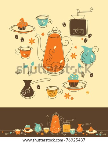 Set of Coffee Objects in Retro-Styled