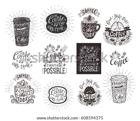 Set Coffee Quotes Vector Handdrawn Lettering Stock Vector 2018