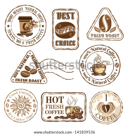Set of coffee stamps - stock vector