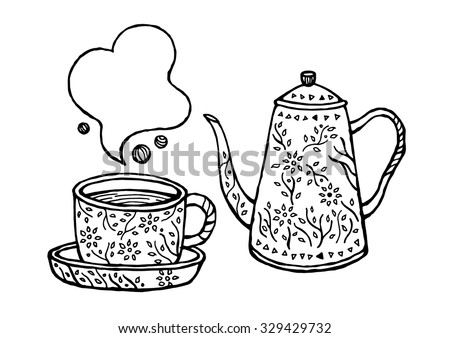 set of coffee, tea cup and pot design, vintage retro style, sign symbol logo concept, flower floral hand drawn - stock vector