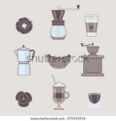 Set of Coffee Types and Coffee Accessories in Flat Style - stock vector