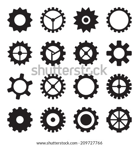 Set of cogwheels, pinions and gears isolated on white background. For industrial and machinery design