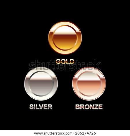 Set of coins illustration. Gold coin, silver coin, bronze coin. Polish coins. Bright coins. - stock vector