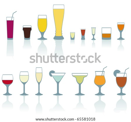 Set of cold drink glasses on white background - vector