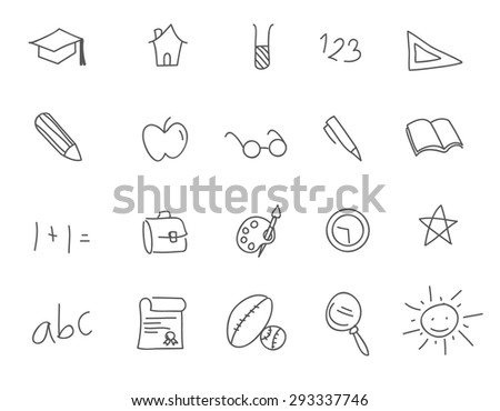 set of collection of school doodle icons - stock vector