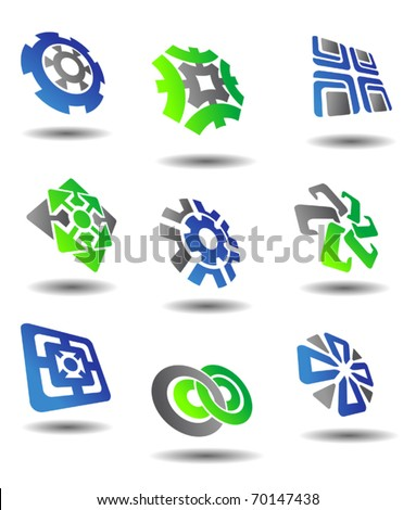 Set of color abstract symbols for design - also as emblem. Jpeg version also available in gallery