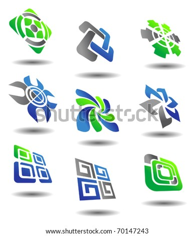 Set of color abstract symbols for design - also as emblem or template. Jpeg version also available in gallery - stock vector