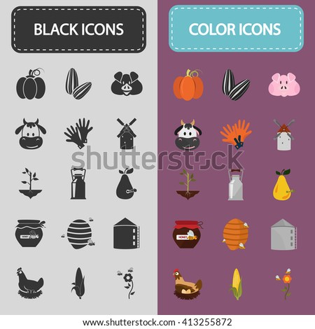 Set of color and black agriculture icons - stock vector