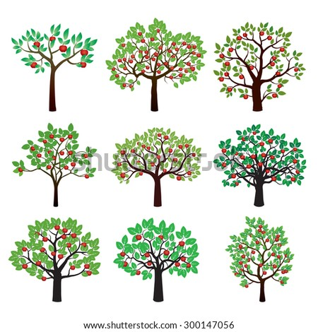 Set of Color Apple Trees. Vector Illustration. - stock vector
