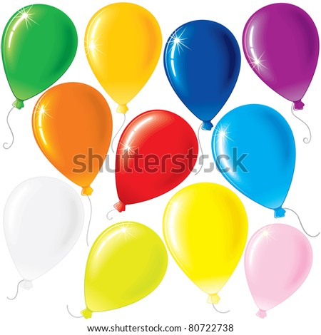 Set of Color Balloons isolated on White Background - stock vector