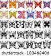 Set of Color, Black and White Butterflies on White Background, Vector Version - stock