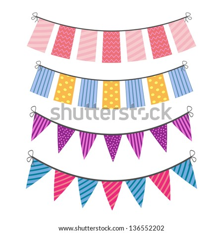 set of color buntings for party - stock vector