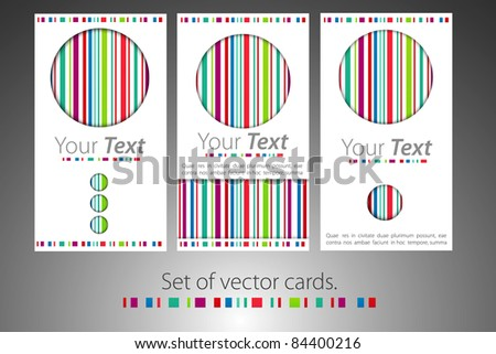 Set of color business cards with color lines - stock vector