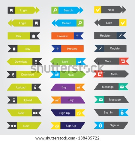 Set of 30 color buttons. Can be used for infographics - stock vector