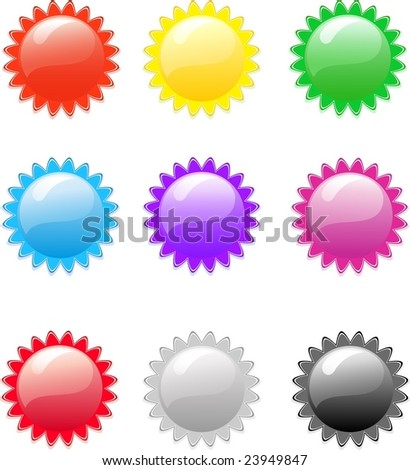 Set of color buttons, vector illustration, EPS8, all parts closed, possibility to edit. - stock vector