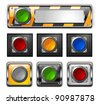 Set of color buttons with metallic borders, vector illustration - stock vector