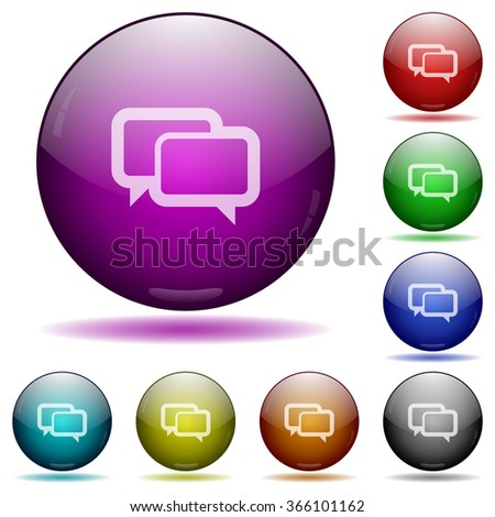 Set of color Chat bubbles glass sphere buttons with shadows. - stock vector