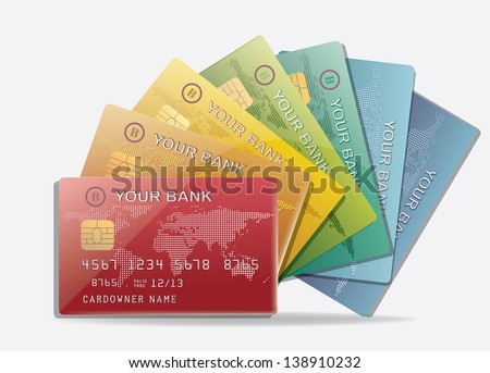 Set of color credit cards eps 10 - stock vector
