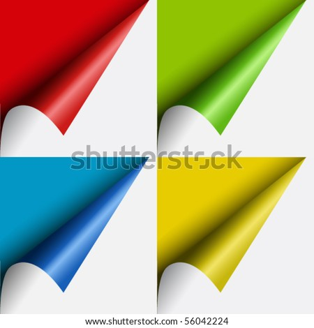 Set of  color curled corners of sheet - stock vector