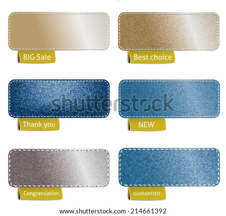 Set of color denim texture with sewing and red labels, vector illustration - stock vector