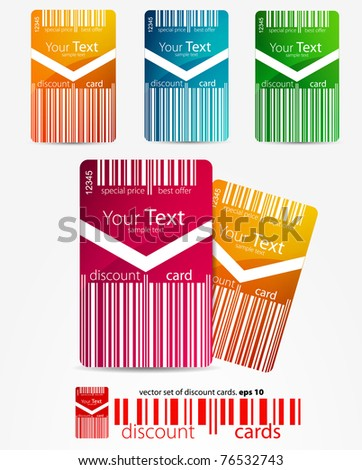 set of color discount cards - stock vector