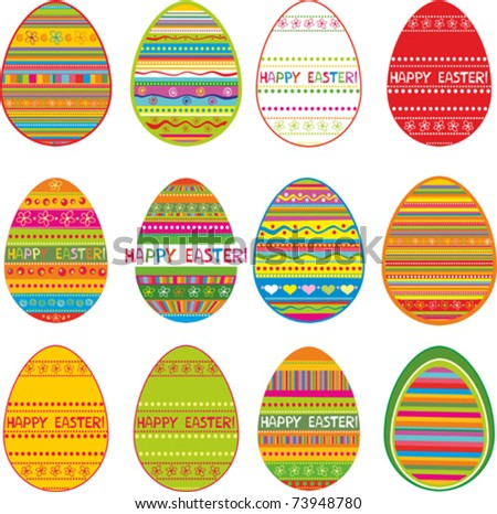 set of color easter eggs.  Isolated on White Background. Vector illustration - stock vector