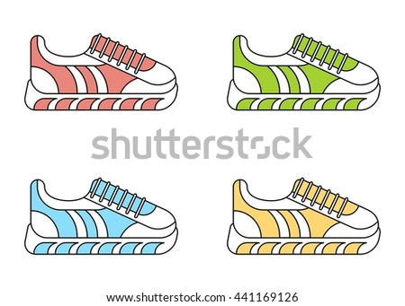 Set of color fashionable sneakers. Color fashionable sneakers. Cartoon flat vector illustration. Objects isolated on a white background. - stock vector