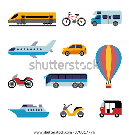 Set of color flat transport icons for traveling - stock vector