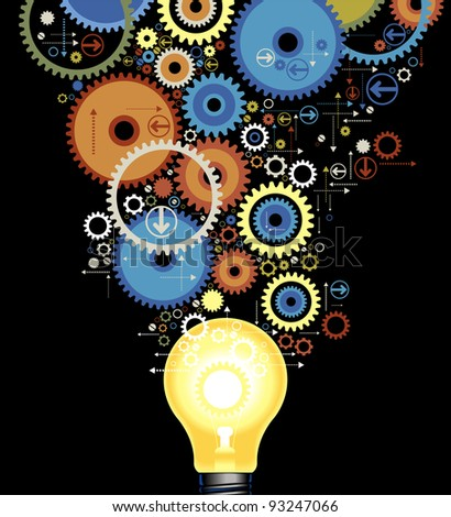 set of color gears out of the luminescent lamps - stock vector