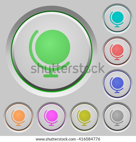 Set of color globe sunk push buttons. - stock vector