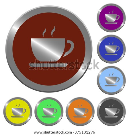 Set of color glossy coin-like coffee buttons.
