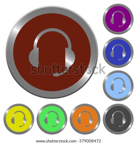 Set of color glossy coin-like headset buttons.
