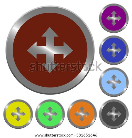 Set of color glossy coin-like move buttons.