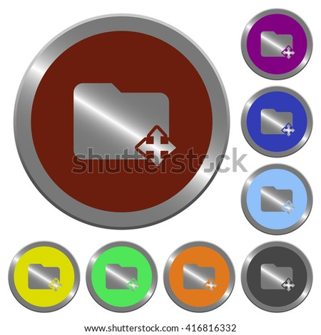 Set of color glossy coin-like move folder buttons. - stock vector