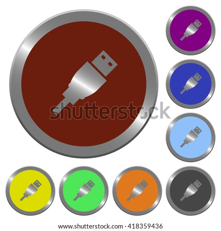 Set of color glossy coin-like USB plug buttons. - stock vector